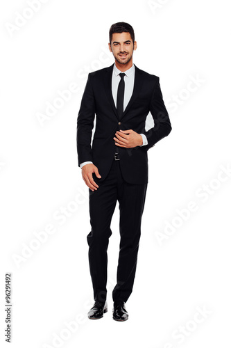 Fotografie, Obraz  elegant man in black suit, on white