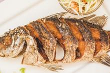 Fried Fish Thai Food On Plate