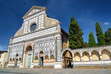 Facade Of The Basilica Of Santa Maria Novella In Florence, Italy
