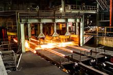 Hot Steel On Conveyor In Steel...