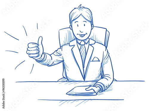 Fotografía  Business man, happy smiling boss or customer, sitting at his desk showing like,