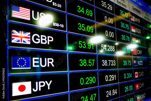 currency exchange rate on digital LED display board Canvas Print