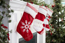 Empty Stockings Hung On Firepl...