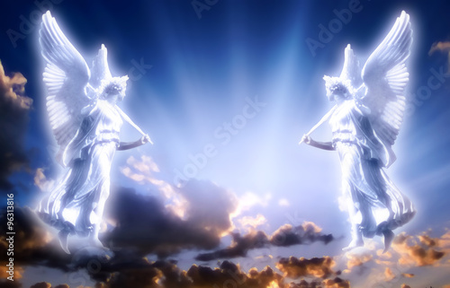 Angels with divine Light Wallpaper Mural