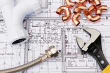 Plumbing Components Arranged O...