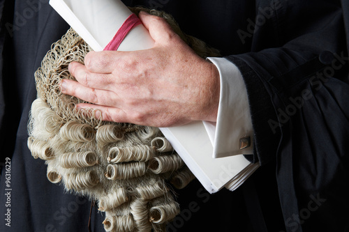 Close Up Of Barrister Holding Wig And Brief Canvas Print