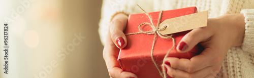 Fotomural Girl holding christmas present