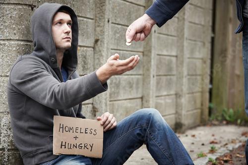Man Giving Money To Beggar On Street Wallpaper Mural