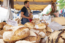 Fresh Bread For Sale On Market Stall