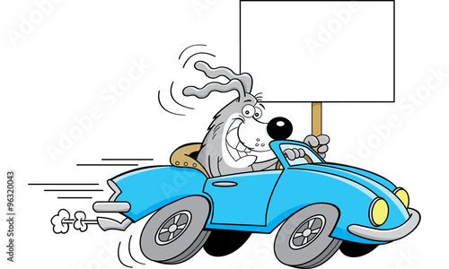 Staande foto Cartoon cars Cartoon illustration of a dog driving a car and holding a sign.