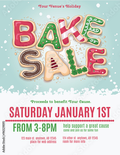 Christmas holiday bake sale flyer template with hand drawn cookie ...