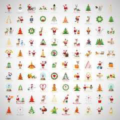 Christmas Icons And Elements Set - Isolated On Gray Background - Vector Illustration, Graphic Design Editable For Your Design