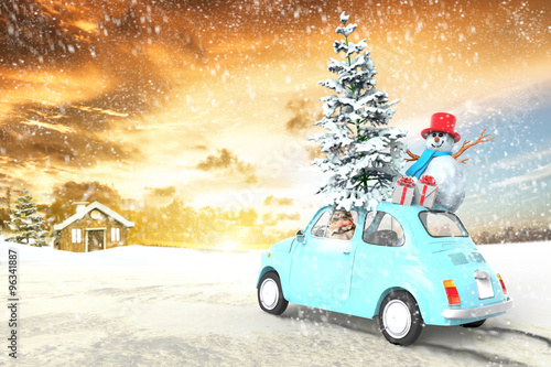 Valokuva  car with santa claus and gifts