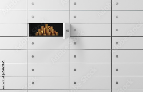 Fototapeta White safe deposit boxes in a bank. There are gold coins inside of a one box. A concept of storing of important documents or valuables in a safe and secure environment. 3D rendering. obraz