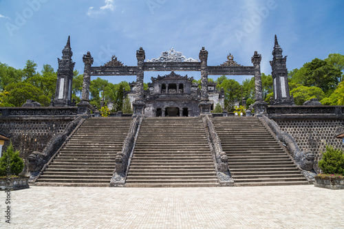 Grand stairs in Imperial Khai Dinh Tomb in Hue,  Vietnam Canvas Print