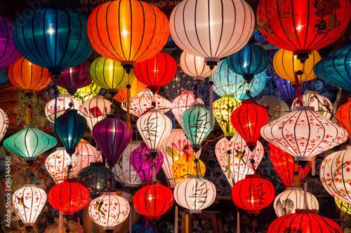 Paper lanterns on the streets of old Asian  town Poster