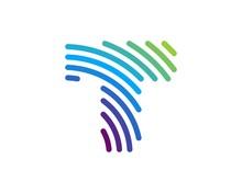 T Letter Rainbow Lines Logo