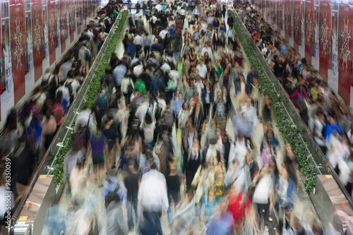 Zdjęcie XXL Zatłoczeni ludzie w Azja mieście - Hong Kong
