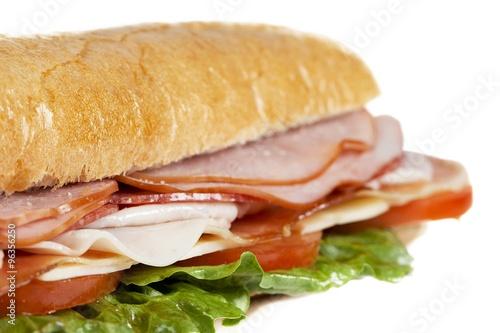 Staande foto Snack close up shot of ham sandwich