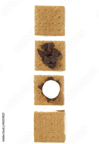 Fotografie, Obraz  graham wafers with chocolate candy bar and mallows