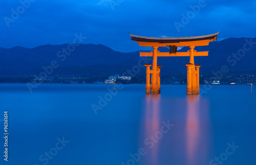 The Itsukushima floating Torii Gate off the coast of the island