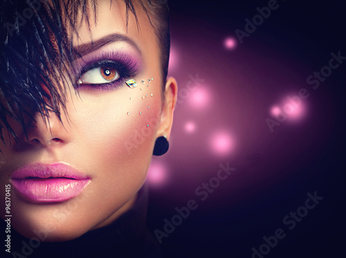 Poster - Sexy model girl face closeup with holiday bright purple makeup
