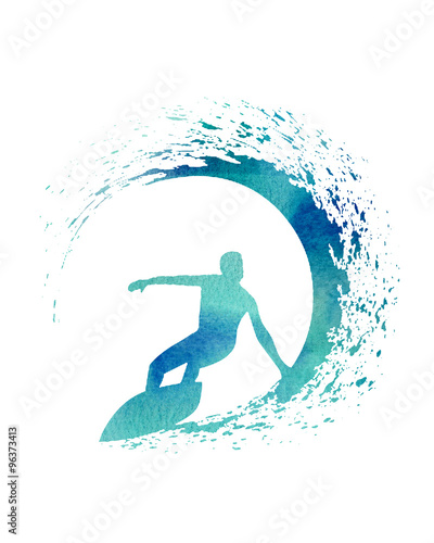 Papiers peints Abstract wave Blue Watercolor Illustration of a Surfer with a wave
