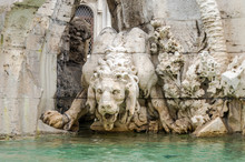 Marble Sculpture Of A Lion Statue In The Fountain Of Four Rivers In Piazza Navona In Rome, Capital Of Italy