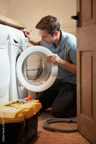 Printed kitchen splashbacks Artist KB Engineer Mending Domestic Washing Machine
