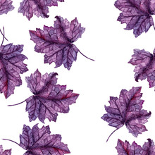 Watercolor Purple Leaves Seamless Background Pattern