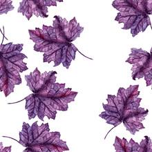 Watercolor Purple Leaves Seaml...
