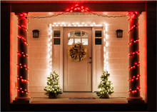 Front Door Of Residence Decorated For Christmas