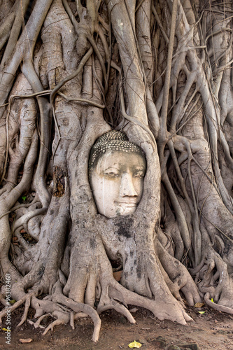 Photo Stands Place of worship abstract Head of Buddha in Wat Mahathat
