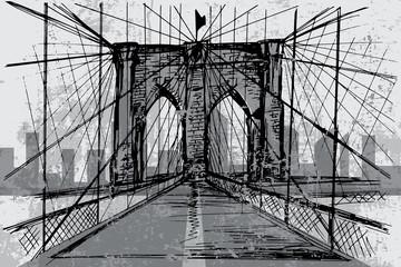 FototapetaHand drawn Brooklyn Bridge - vector