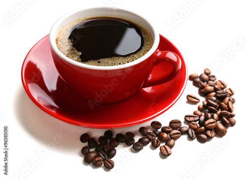Wall Murals Cafe A red cup of tasty drink and scattered coffee grains, isolated on white