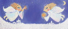 Illustration Of Cute Little Christmas Angels With Sparkler And Trumpet. Hand Painted Christmas Picture.