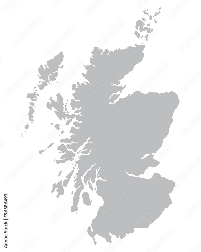 Fototapeta grey map of Scotland