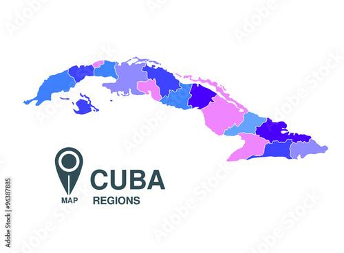 Cuba map regions Wallpaper Mural