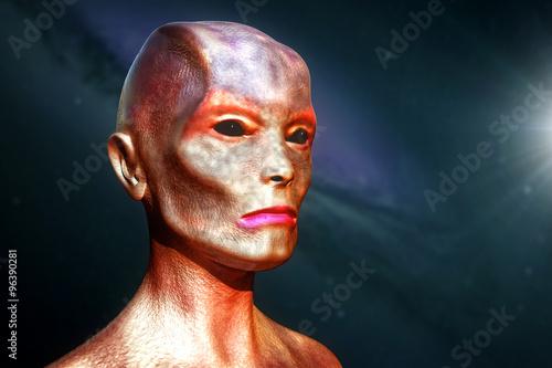 Photo  Head of extraterrestrial alien