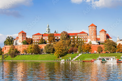Tuinposter Krakau Wawel hill with castle in Krakow