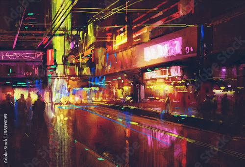 city street with illumination and night life,digital painting