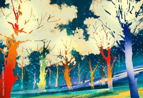 fantasy forest with colorful trees,landscape digital painting