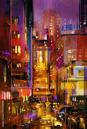 painting of city night scene with colorful lights
