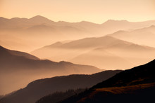 Landscape View Of Misty Mounta...