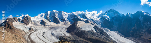 Fotobehang Gletsjers Panorama view of Bernina massive and Morteratsch glacier