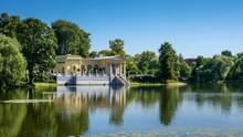 Princes Olga Pavilion On Island In Olga's Pond. Russia, Peterhof (Petrodvorets)