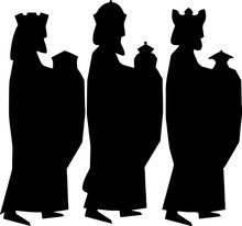 Three Wise Men Or Three Kings Silhouettes. Nativity Illustration