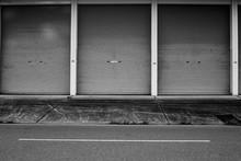 Zinc Door Background, Metallic Roll Up Door, Near Street