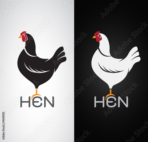 Fotografiet Vector image of an hen design on white background and black back