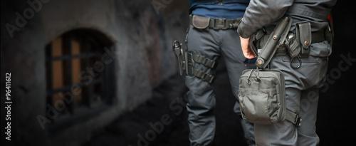 Armed policemen Canvas Print